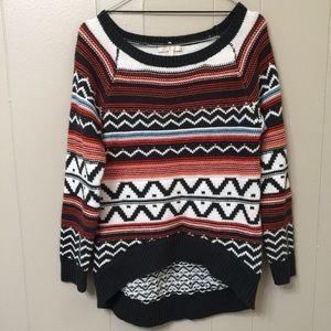 Under Skies Women's M Geo Print Hi Lo Knit Sweater